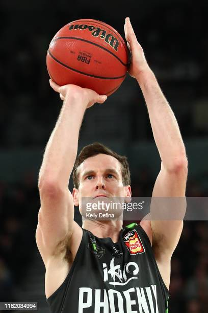 Ben Madgen of the Phoenix shoots during the round three NBL match between the South East Melbourne Phoenix and the Illawarra Hawks on October 19,...