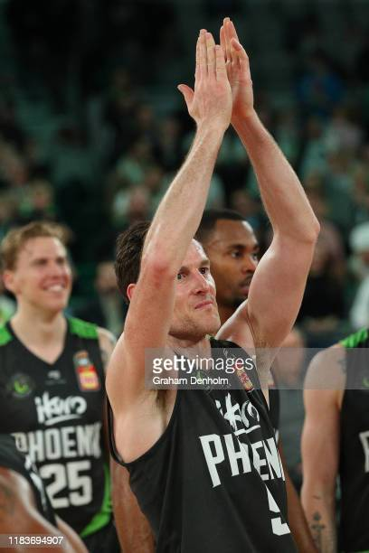Ben Madgen of the Phoenix thanks the crowd following the round four NBL match between the South East Melbourne Phoenix and the Adelaide 36ers at...
