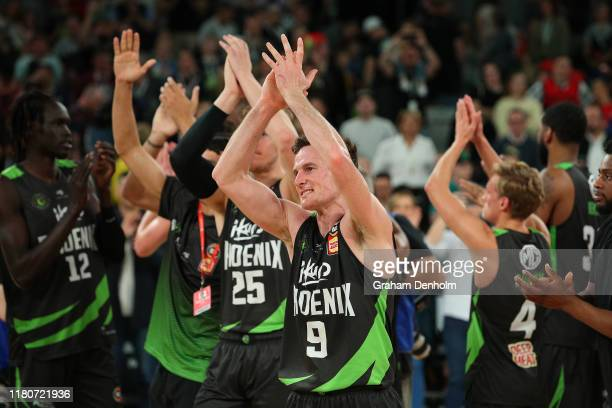 Ben Madgen of the Phoenix thanks the fans following the round two NBL match between the South East Melbourne Phoenix and the Brisbane Bullets at...