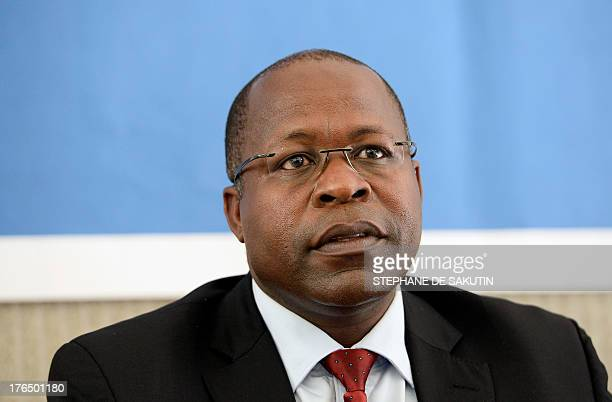 Ben Magara CEO of platinum miner Lonmin speaks during a press conference with the president of the Association for Mineworkers and Construction in...