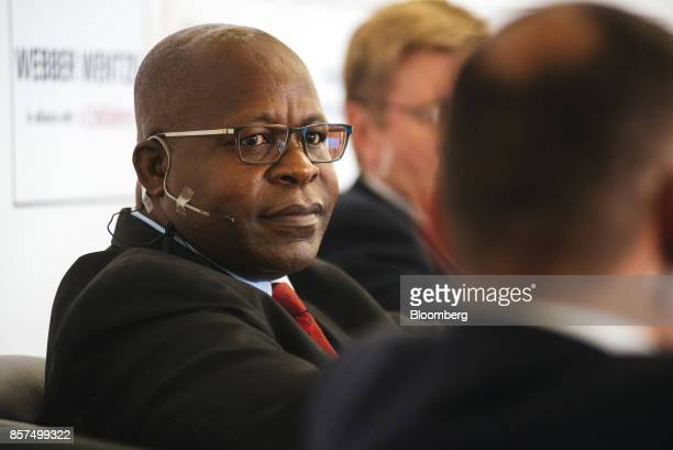 Ben Magara, chief executive officer of Lonmin Plc, looks on during a panel discussion on the opening day of the Investing in African Mining Indaba in...