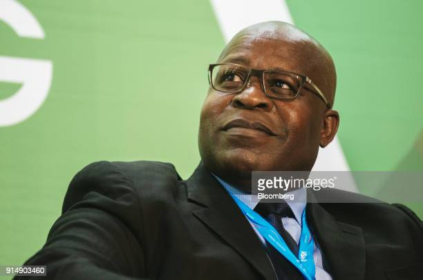 Ben Magara, chief executive officer of Lonmin Plc, looks on during a panel discussion on the second day of the Investing in African Mining Indaba in...