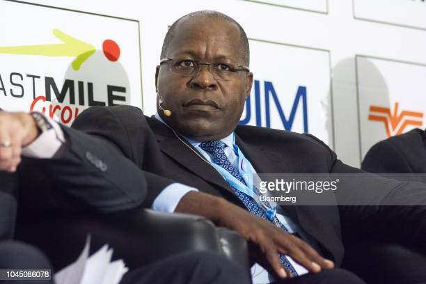 Ben Magara, chief executive officer of Lonmin Plc, looks on during the opening day of the Investing In 'Resources And Mining In Africa' Indaba in...