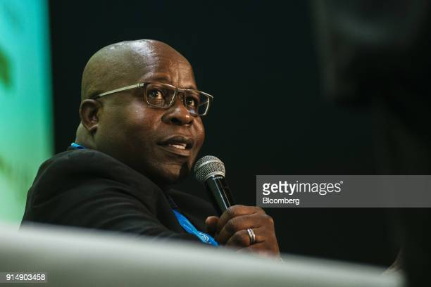 Ben Magara, chief executive officer of Lonmin Plc, speaks during a panel discussion on the second day of the Investing in African Mining Indaba in...