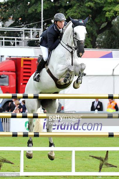 Ben Maher and Celia of Great Britain competes in the Longines International Showjumping Grand Prix of Ireland with a prize of EUR200000 at the RDS...