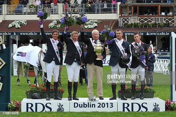 Ben Maher Nick Skelton Rob Hoekstra Robert Smith and Scott Brash wins the Aga Khan trophy in the Furusiyya FEI Nations Cup at the RDS Dublin Horse...
