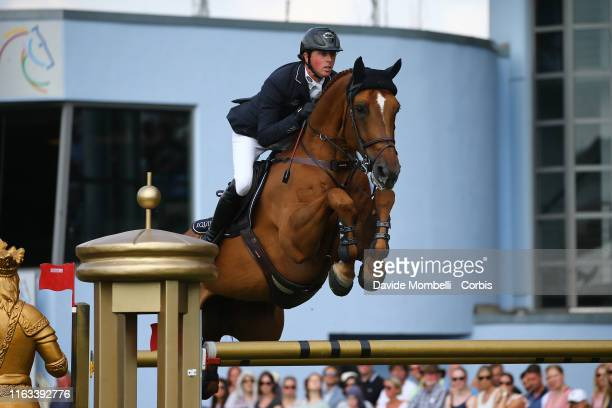 Ben Maher of England riding Explosion W during Rolex Grand Prix Jumping Competition over two rounds and jumpoff Aachen on July 21 2019 in Aachen...