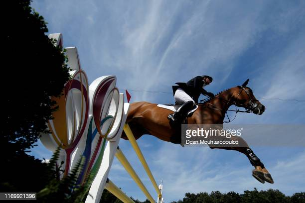 Ben Maher of Great Britain or Team GB riding Explosion W competes during Day 5 of the Longines FEI Jumping European Championship, Round 2 Team Final,...