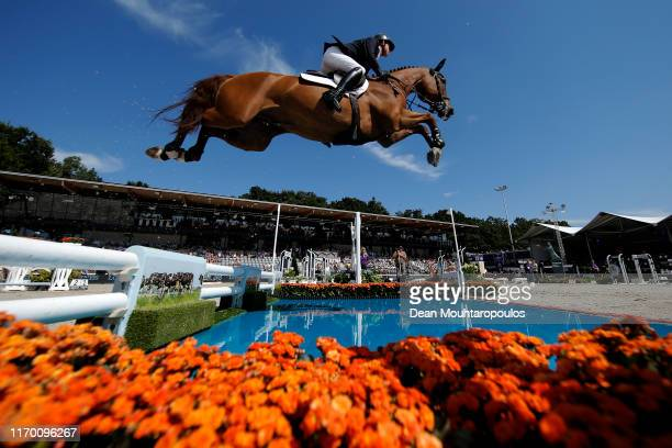 Ben Maher of Great Britain or Team GB riding Explosion W competes during Day 7 of the Individual Final, Longines FEI Jumping European Championship...