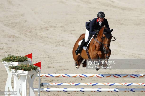 Ben Maher of Great Britain riding Explosion W competes during Day 4 of the Longines FEI Jumping European Championship 2nd part, team Jumping 1st...