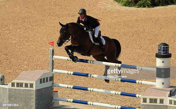 Ben Maher of Great Britain riding Tic Tac competes during the Equestrian Jumping Individual Final Round on Day 14 of the Rio 2016 Olympic Games at...
