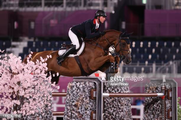 Ben Maher of Team Great Britain riding Explosion W competes during the Jumping Individual Final on day twelve of the Tokyo 2020 Olympic Games at...