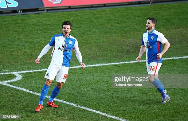 Ben Marshall of Blackburn Rovers celebrates scoring his team's first goal during The Emirates FA Cup fourth round match between Oxford United and...