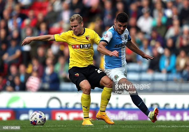 Ben Marshall of Blackburn Rovers competes with Matej Vydra of Watford during the Sky Bet Championship match between Blackburn Rovers and Watford at...
