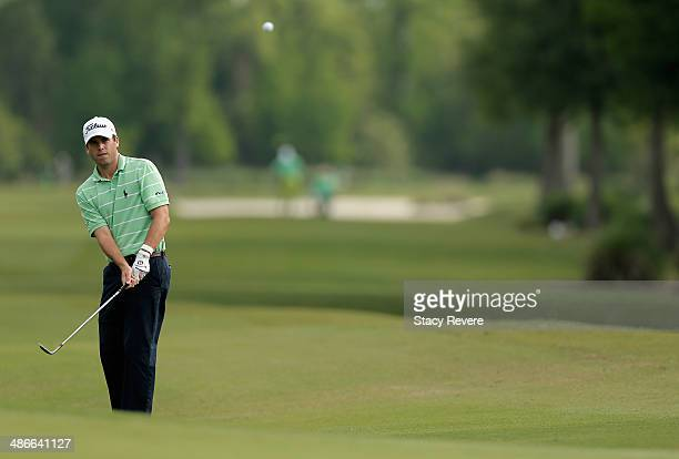 Ben Martin chips in for eagle on the 11th during Round Two of the Zurich Classic of New Orleans at TPC Louisiana on April 25, 2014 in Avondale,...