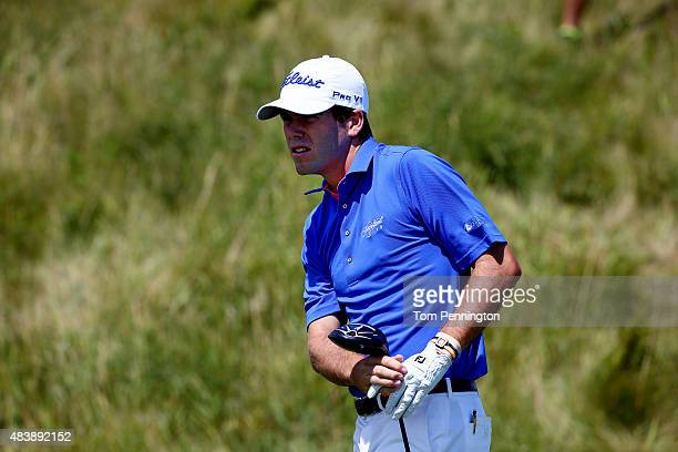 Ben Martin of the United States watches a shot during the first round of the 2015 PGA Championship at Whistling Straits on August 13 2015 in...