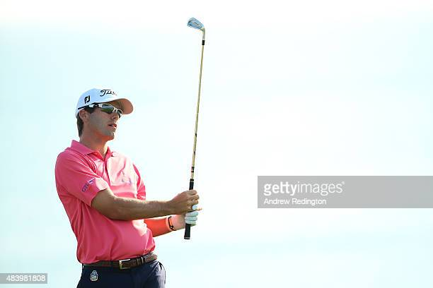 Ben Martin of the United States watches his tee shot on the third hole during the second round of the 2015 PGA Championship at Whistling Straits on...