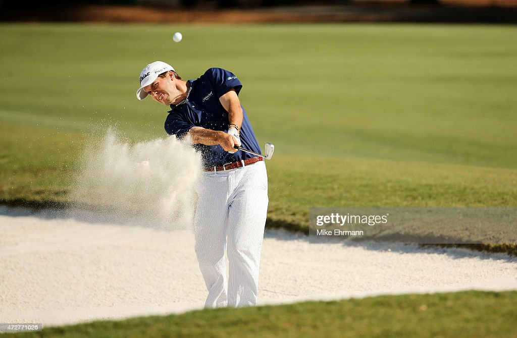 Ben Martin plays a shot from a bunker on the 15th hole during round three of THE PLAYERS Championship at the TPC Sawgrass Stadium course on May 9, 2015 in Ponte Vedra Beach, Florida.