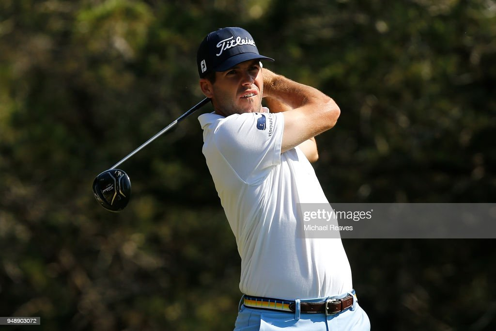 Ben Martin plays his shot from the fifth tee during the first round of the Valero Texas Open at TPC San Antonio AT&T Oaks Course on April 19, 2018 in San Antonio, Texas.