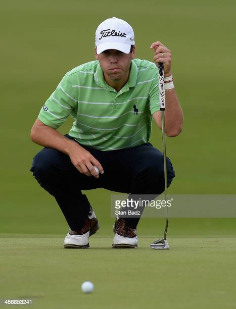 Ben Martin reacts after a double bogey on the 18th during Round Two of the Zurich Classic of New Orleans at TPC Louisiana on April 25, 2014 in...