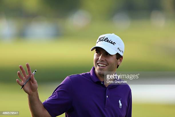 Ben Martin reacts after making a birdie putt on the 17th during Round One of the Zurich Classic of New Orleans at TPC Louisiana on April 24 2014 in...