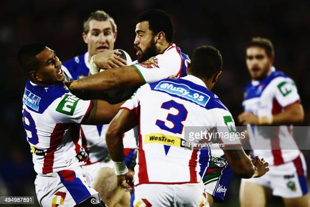 Ben Matulino of the Warriors charges forward during the round 12 NRL match between the New Zealand Warriors and the Newcastle Knights at Mt Smart...