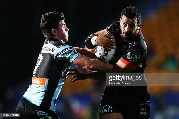 Ben Matulino of the Warriors charges forward during the round 21 NRL match between the New Zealand Warriors and the Cronulla Sharks at Mt Smart...