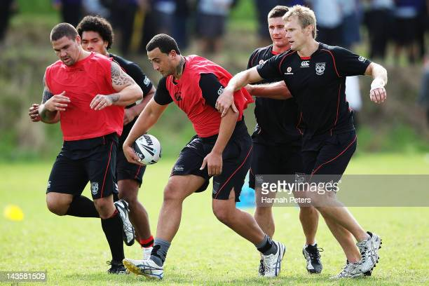 Ben Matulino runs through drills during a New Zealand Warriors NRL training session at Otahuhu College on April 30 2012 in Auckland New Zealand