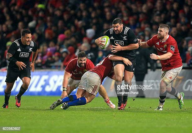 Ben May of the Maori All Blacks is tackled during the friendly match between Munster and Maori All Blacks at Thomond Park on November 11 2016 in...