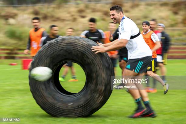 Ben May takes part in a game during a Hurricanes training session at Rugby League Park on March 27 2017 in Wellington New Zealand