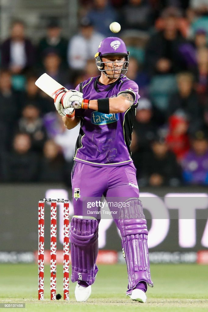 Ben McDermott of the Hobart Hurricanes evades a bouncer during the Big Bash League match between the Hobart Hurricanes and the Brisbane Heat at Blundstone Arena on January 15, 2018 in Hobart, Australia.