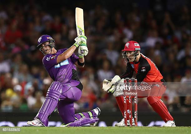 Ben McDermott of the Hurricanes bats during the Big Bash League match between the Melbourne Renegades and the Hobart Hurricanes at Etihad Stadium on...