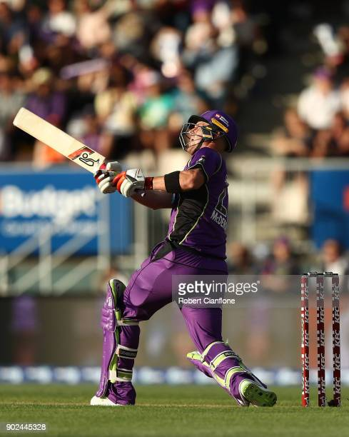 Ben McDermott of the Hurricanes bats during the Big Bash League match between the Hobart Hurricanes and the Sydney Sixers at Blundstone Arena on...