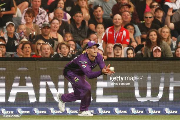 Ben McDermott of the Hurricanes catches out Sean Abbott of the Sixers during the Big Bash League match between the Hobart Hurricanes and the Sydney...