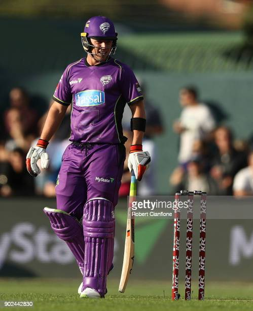 Ben McDermott of the Hurricanes looks on during the Big Bash League match between the Hobart Hurricanes and the Sydney Sixers at Blundstone Arena on...