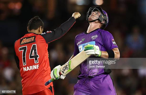 Ben McDermott of the Hurricanes reacts after being dismissed by Sunil Narine of the Renegades during the Big Bash League match between the Melbourne...