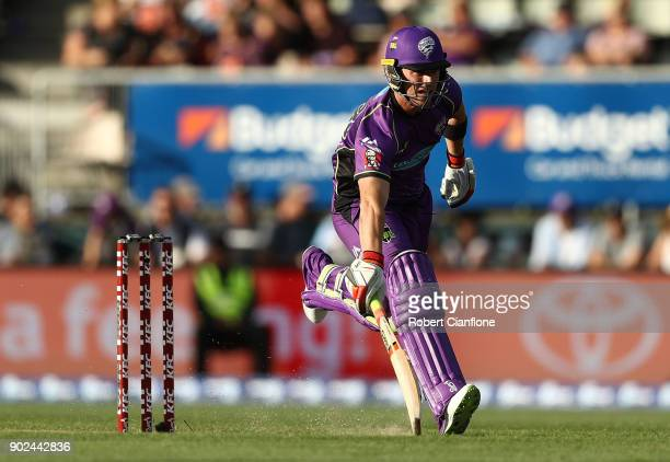 Ben McDermott of the Hurricanes runs during the Big Bash League match between the Hobart Hurricanes and the Sydney Sixers at Blundstone Arena on...