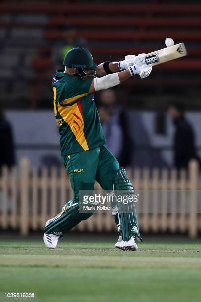 Ben McDermott of the Tigers bats during the JLT One Day Cup match between New South Wales and Tasmania at North Sydney Oval on September 25 2018 in...