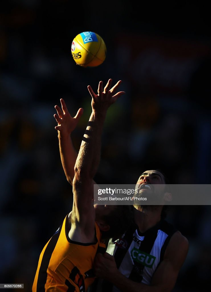 Ben McEvoy of the Hawks and Brodie Grundy of the Magpies compete for the ball during the round 15 AFL match between the Hawthorn Hawks and the Collingwood Magpies at Melbourne Cricket Ground on July 2, 2017 in Melbourne, Australia.