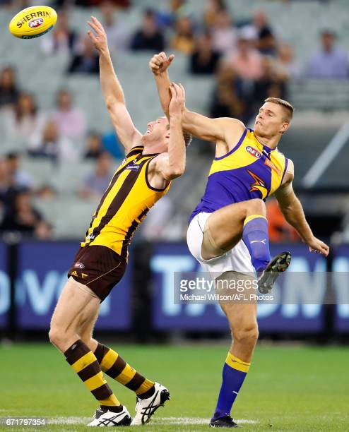 Ben McEvoy of the Hawks and Nathan Vardy of the Eagles in action during the 2017 AFL round 05 match between the Hawthorn Hawks and the West Coast...