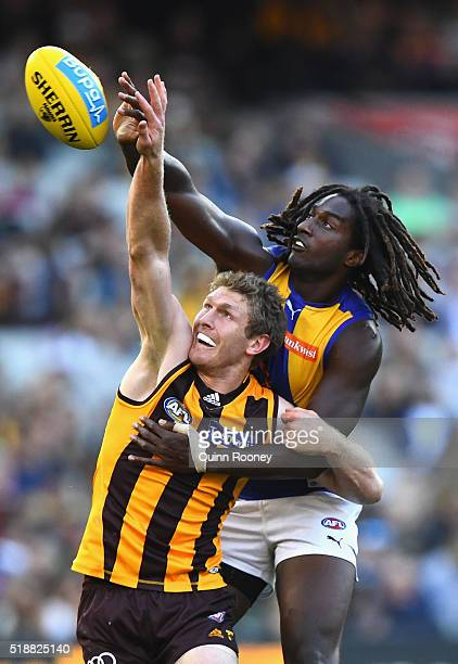 Ben McEvoy of the Hawks and Nic Naitanui of the Eagles compete in the ruck during the round two AFL match between the Hawthorn Hawks and the West...