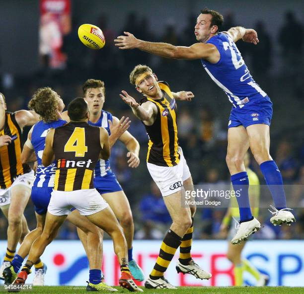 Ben McEvoy of the Hawks and Todd Goldstein of the Kangaroos compete for the ball during the round fiveAFL match between the North Melbourne Kangaroos...