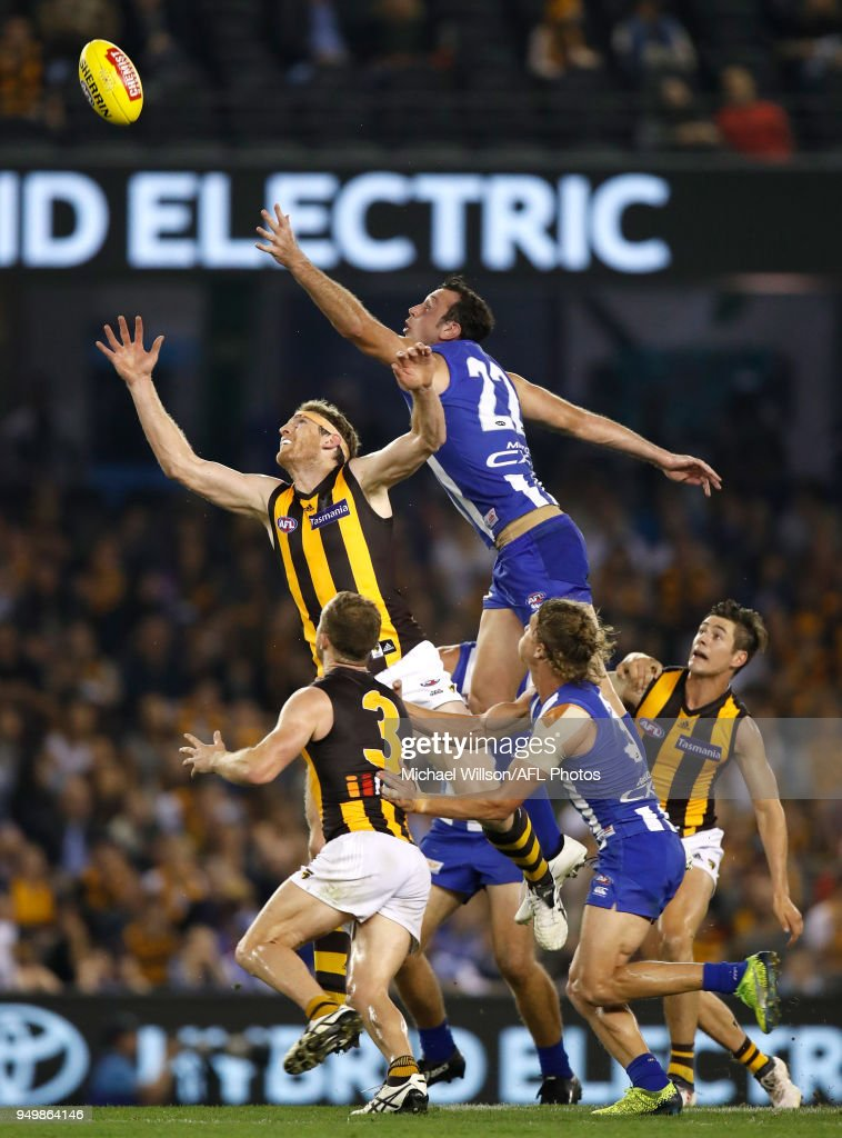 Ben McEvoy of the Hawks and Todd Goldstein of the Kangaroos compete for the ball during the 2018 AFL round five match between the North Melbourne Kangaroos and the Hawthorn Hawks at Etihad Stadium on April 22, 2018 in Melbourne, Australia.