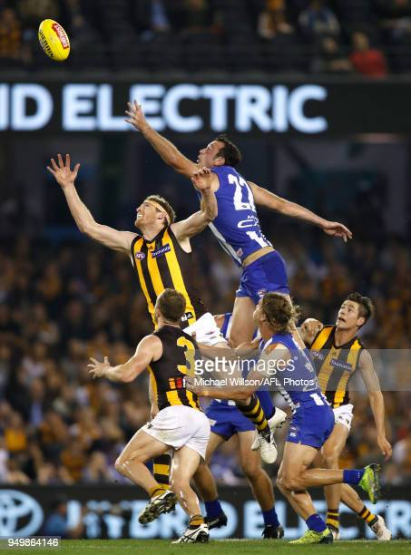 Ben McEvoy of the Hawks and Todd Goldstein of the Kangaroos compete for the ball during the 2018 AFL round five match between the North Melbourne...