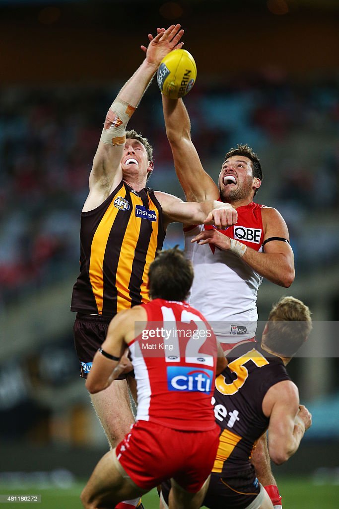 Ben McEvoy of the Hawks competes for the ball against Toby Nankervis of the Swans during the round 16 AFL match between the Sydney Swans and the Hawthorn Hawks at ANZ Stadium on July 18, 2015 in Sydney, Australia.