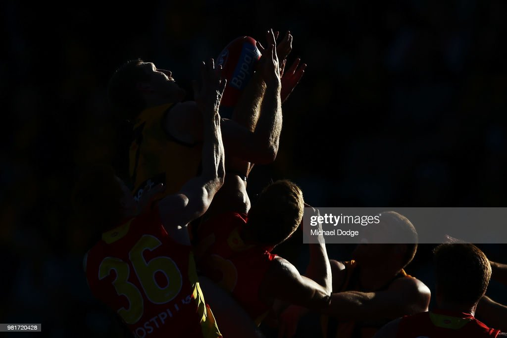 Ben McEvoy of the Hawks competes for the ball during the round 14 AFL match between the Hawthorn Hawks and the Gold Coast Suns at University of Tasmania Stadium on June 23, 2018 in Launceston, Australia.