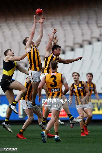 Ben McEvoy of the Hawks marks the ball during the round 23 AFL match between Richmond Tigers and Hawthorn Hawks at Melbourne Cricket Ground on August...