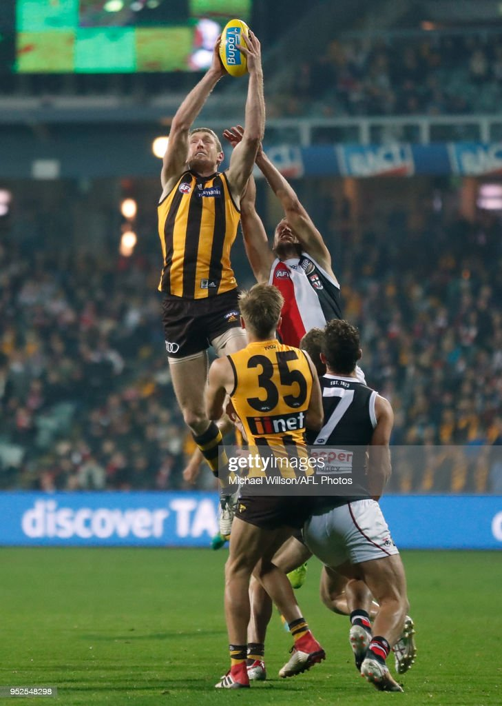Ben McEvoy of the Hawks takes a high mark over Tom Hickey of the Saints during the 2018 AFL round six match between the Hawthorn Hawks and the St Kilda Saints at UTAS Stadium on April 28, 2018 in Launceston, Australia.