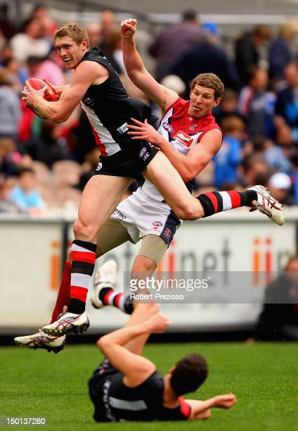 Ben McEvoy of the Saints takes a mark during the round 20 AFL match between the St Kilda Saints and the Melbourne Demons at the Melbourne Cricket...