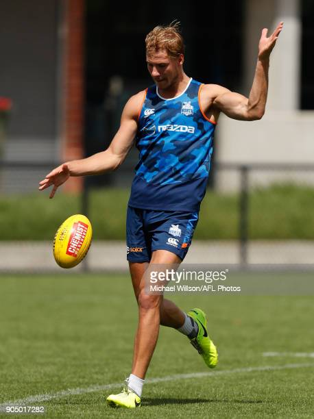 Ben McKay of the Kangaroos in action during a North Melbourne Kangaroos Training Session at Arden Street Ground on January 15 2018 in Melbourne...